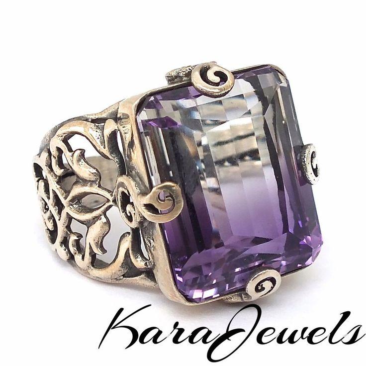 925 Sterling Silver men's ring with white Ametrine unique handcrafted jewelry #Ametrine #mensring #sterlingsilver #KaraJewels #Handmade