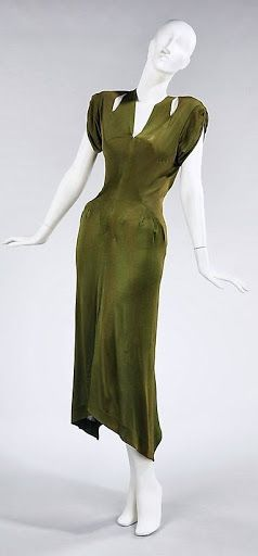 Charles James Dress - 1949 - by Charles James The Metropolitan Museum of Art - @~ Mlle olive green silk 40s 50s designer vintage fashion style