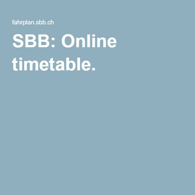 SBB: Online timetable.