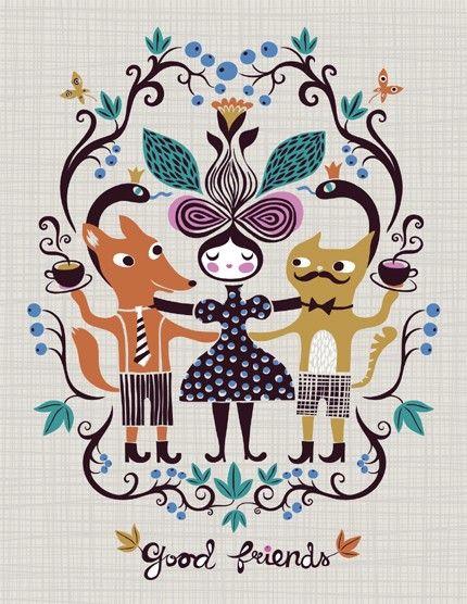 good friends... limited edition giclee print of an original illustration (8.5 x 11)from helen dardik etsy shop