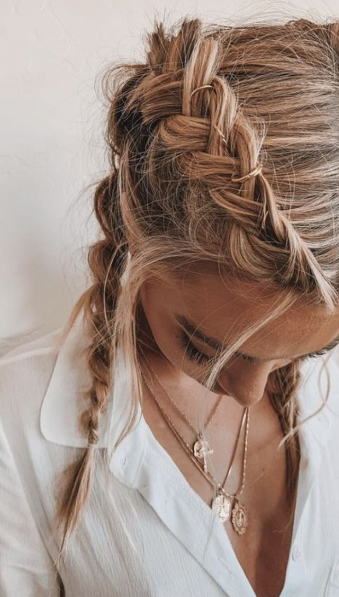 pinterest @kyliieee | double french braids for thin hair | blonde balayage hairstyles for teens