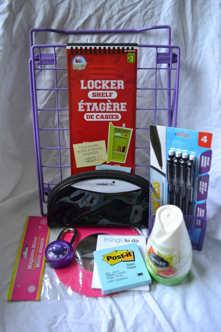 My essential school locker supplies.  So this isn't really room organization but I think school organization is really important too. And why not decorate do DIY projects for your locker to make it more fun!  I hope everyone has a great school year, make the best out of it!  *please credit me if using this pic as I took it myself*   http://www.pinterest.com/AwkwardVogue11/