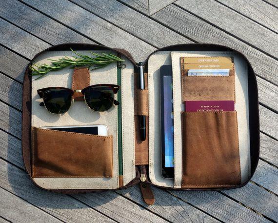 Leder REISEORGANIZER (Mittel) iPad Mini Kindle Folio Pass Inhaber Veranstalter Veranstalter Portfolio-Dokumentenschutz echte echte