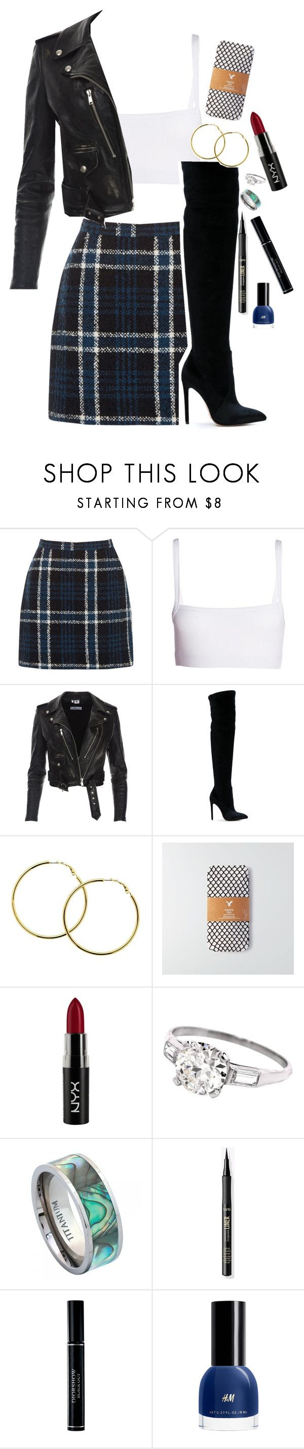 """what do ya think?"" by un-iversal ❤ liked on Polyvore featuring Dries Van Noten, Gianni Renzi, Melissa Odabash, American Eagle Outfitters, NYX and Christian Dior"