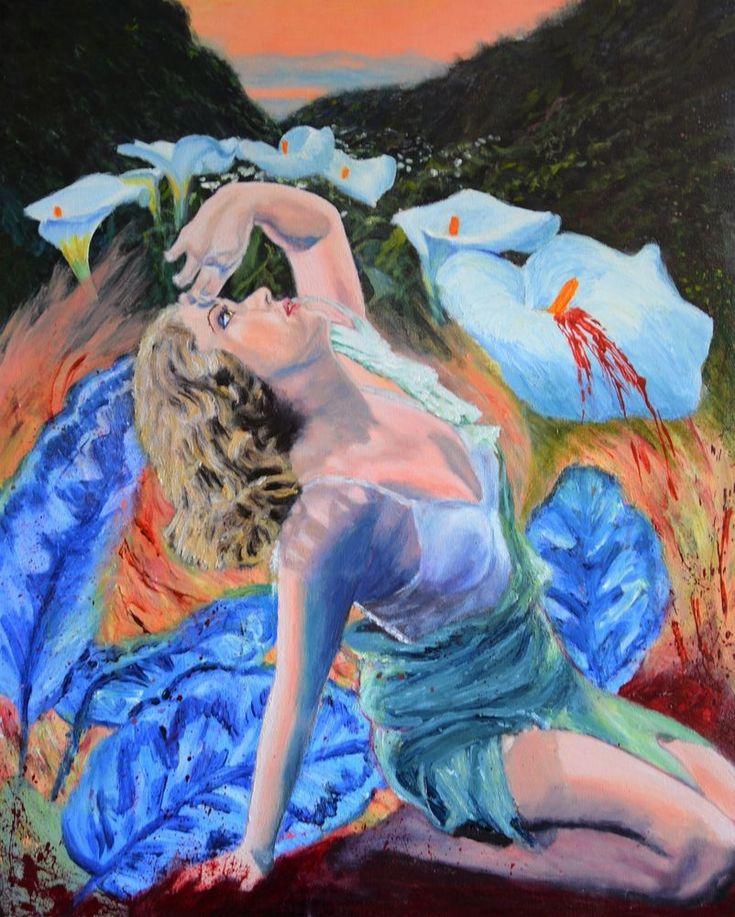 Original surreal landscape painting King Kong pulp gothic art Jane Ianniello