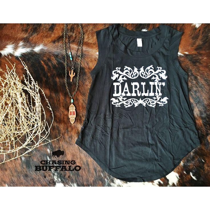 Darlin Tank and J.Forks Designs! www.chasingbuffalo.com #westernwear #cowgirl #fashion #nfrstyle #ranchstyle