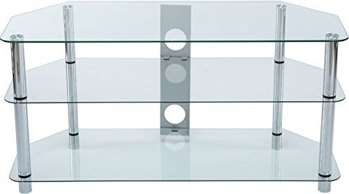 From 40.00:Stealth Mounts 1000mm Clear Glass And Silver Legs Tv Stand For 3d/led/lcd/plasma Tvs Up To 50 Inch