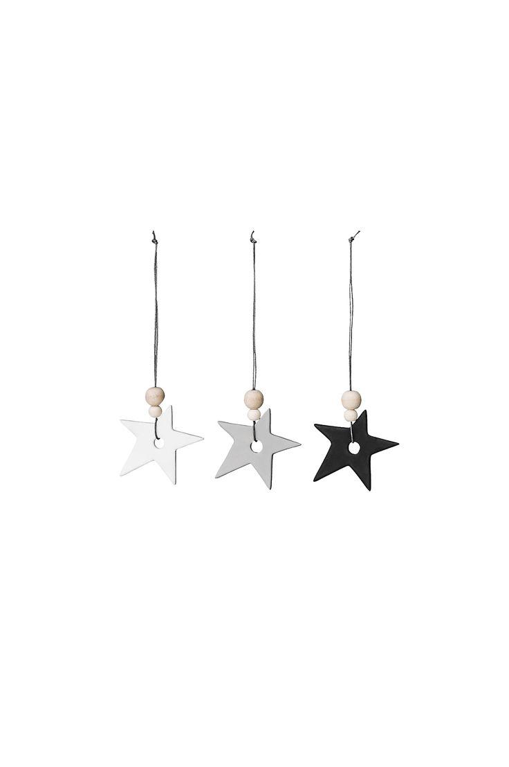 Bloomingville Stars-joulukoristeet, 3 kpl väreissä Monivärinen kategoria Koti - Joulukoristeet - Ellos