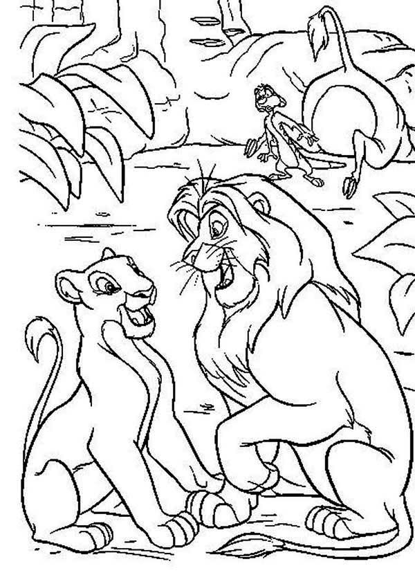 lion king mufasa and nala in the wood with timon the lion king coloring