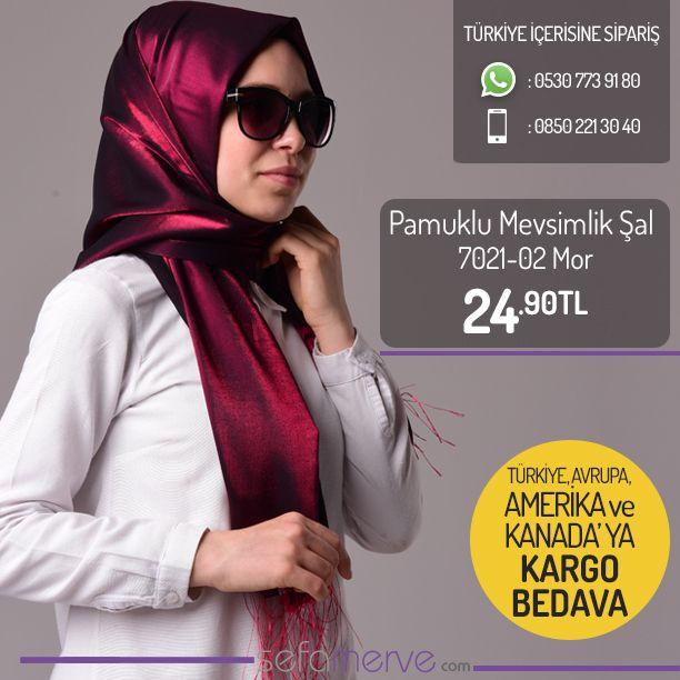 Pamuklu Mevsimlik Şal 7021-02 #şal #hijab #sefamerve #tesettür