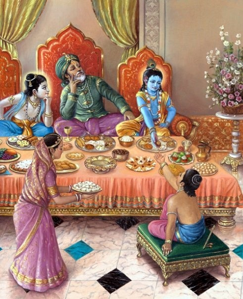 Krishna, Balaram and Nanda Maharaj with Gopal Kumara (Brhad Bhagavatamrta)