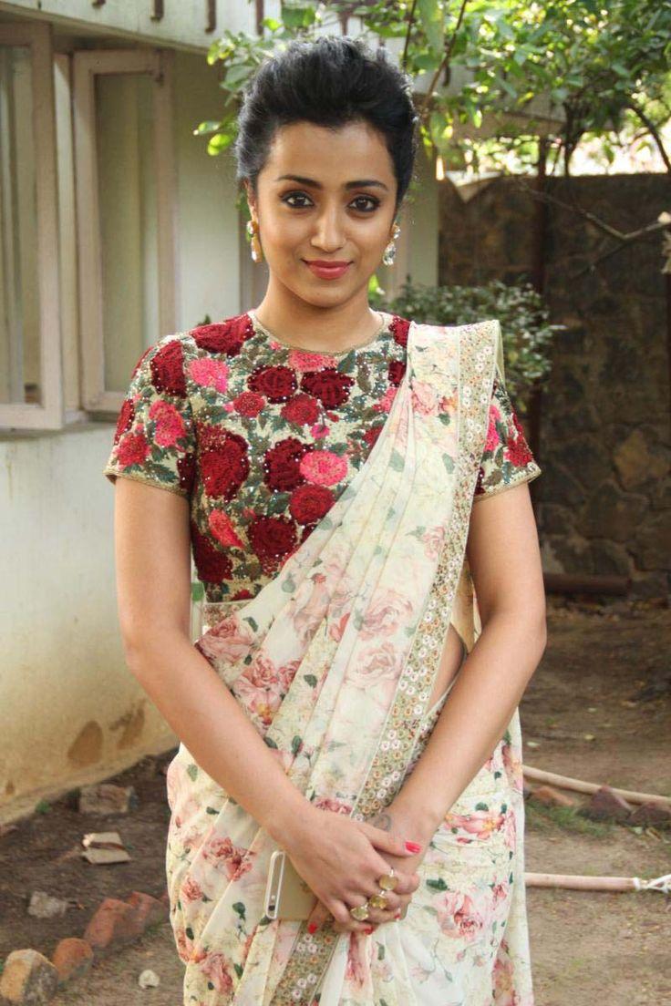 Trisha Saree Stills at Cheekati Rajyam Movie Trailer Launch event