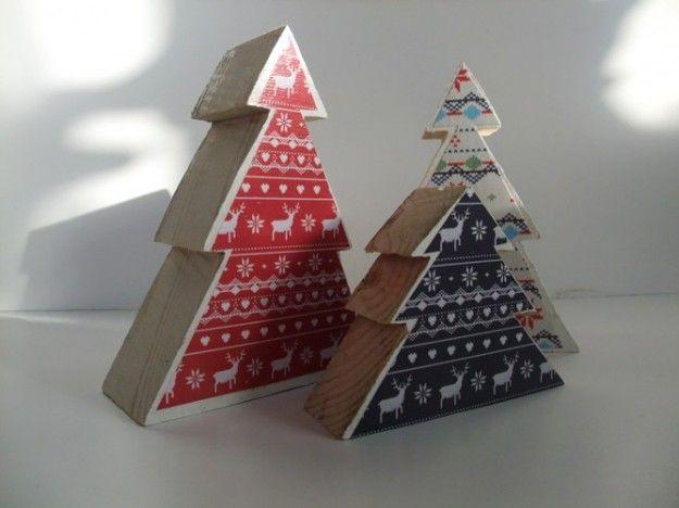 Alberi di Natale di legno fantasia nordica