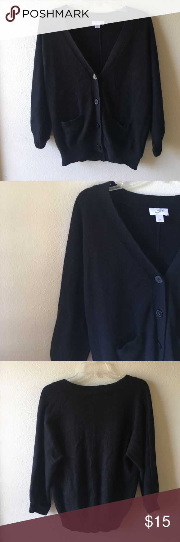 {Anne Taylor Loft} black button up sweater Anne Taylor Loft black button up sweater from The Loft. Pair this comfy sweater with a black or white shirt or camisole and boots or heels. Excellent condition only worn twice - no flaws! Ann Taylor Sweaters Cardigans