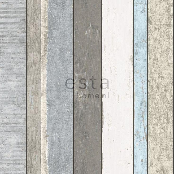 ESTA-Tapetti Wooden Boards 138250, 0,53x10,05m, taupe/sinivihreä-2