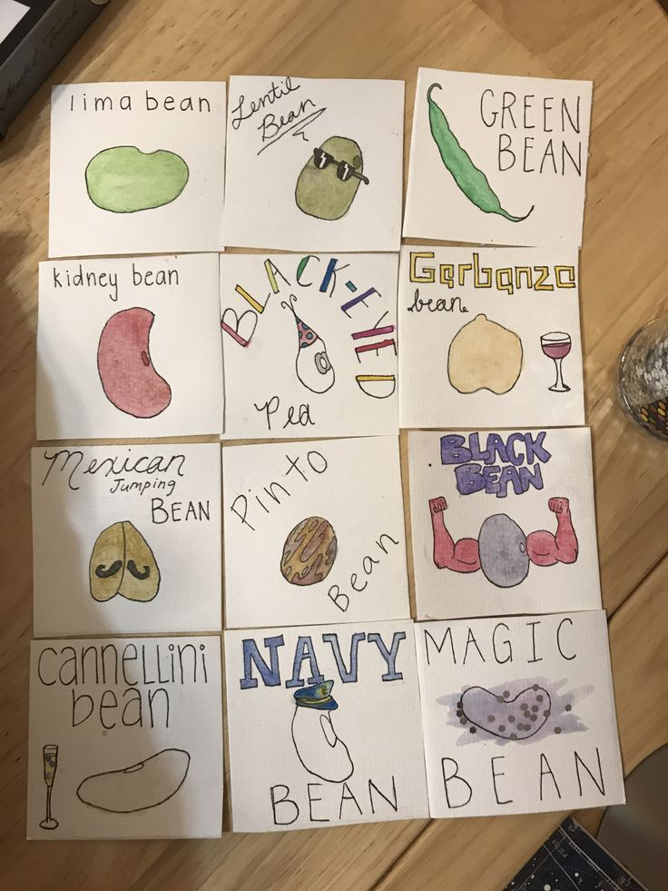Human bean fortune cards