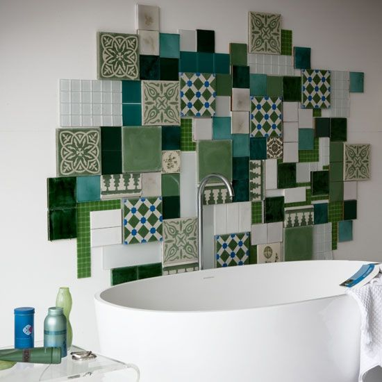 Patchwork collage of different wall tiles... 71 Cool Green Bathroom Design Ideas | DigsDigs