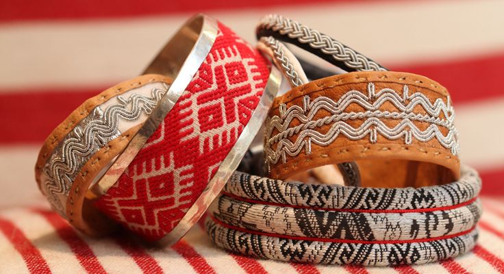Svensk Slöjd (embroidered silver bracelets, sami tin thread bracelets etc)