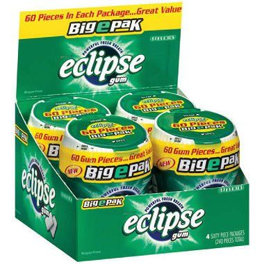 Eclipse Gum Spearmint BigEpak - (2) 60 piece pks. - 4 ct. Powerful fresh breath. 60 pieces. BigEpak is perfect to keep in the car or in your desk for powerful fresh breath anytime! (2 Pack) Eclipse Gum Spearmint BigEpak. Free Shipping. Great Value, Display Box. 8 pack (Sixty pieces in each package).