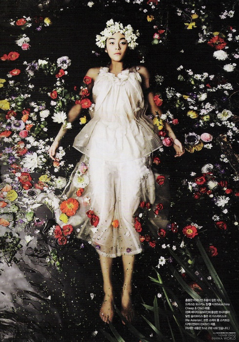 The most incredibly beautiful Vogue Korea shoot, which is obviously a take on Millais' painting of Ophelia. April 2007.