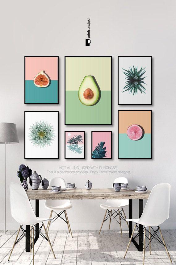 Pink And Blue Kitchen Poster Citrus Print Pop Art Vegan Gift Dining Room Decor Pastel Colors Wall Art Prints Digital Download Decoracion De Monoambientes Cuadros Para Comedor Decoracion De Pared