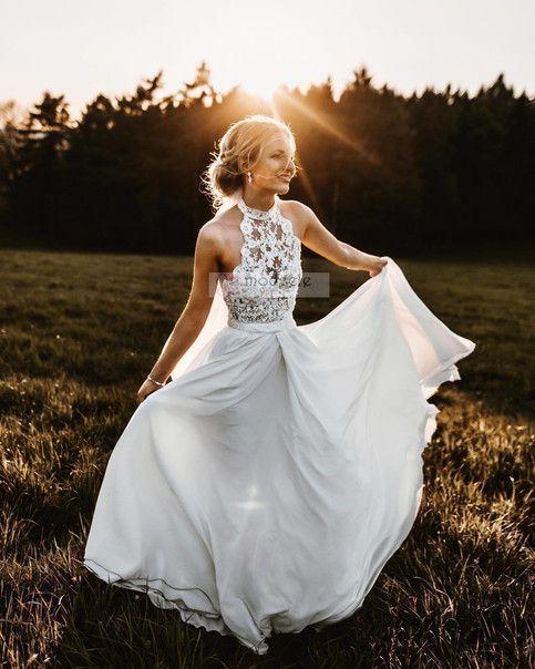 Halter White Long Wedding Dresses