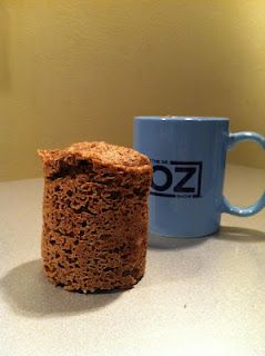 from Dr. Oz and Jorge Cruise: Jorge's Skinny Muffin. Single serving, takes about a minute to mix, 50 seconds to cook in a mug in the microwave. Dump on a plate and enjoy. {Tried this yesterday.. yummy!}  1/4 cup ground flax * 1 tsp baking powder * 2 tsp cinnamon * 1 tsp coconut oil * 1 egg * 1 packet stevia