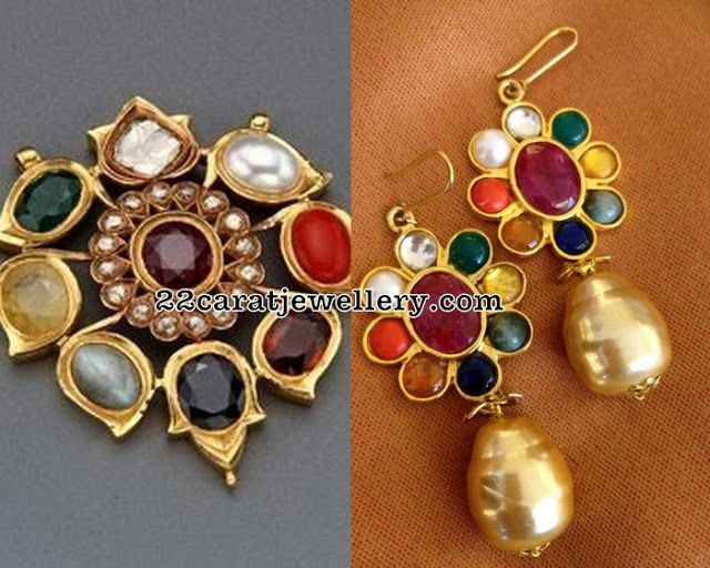 Navaratan Pendant Pearls Drops Earrings