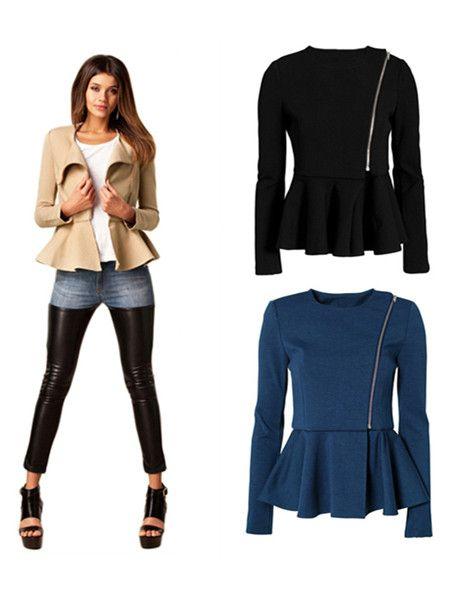 awesome Women Slim Ruffle Hem Peplum Zipper Thin Short Jacket Outwear