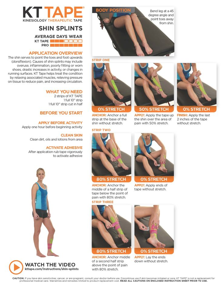 Shin Splints KT Tape Shin splints, Kinesiology taping