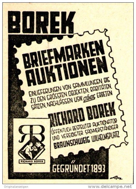 Original-Werbung/ Anzeige 1948 - RICHARD BOREK BRIEFMARKEN-AUKTIONEN - BRAUNSCHWEIG - ca. 45 x 60 mm