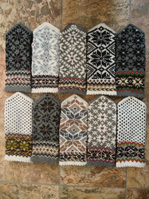 Wool mittens Hand Knitted Mittens Hand Knitted Wool Gloves White Red Purple Blue Green Gray Beige Brown Black Patterned Latvian Mittens