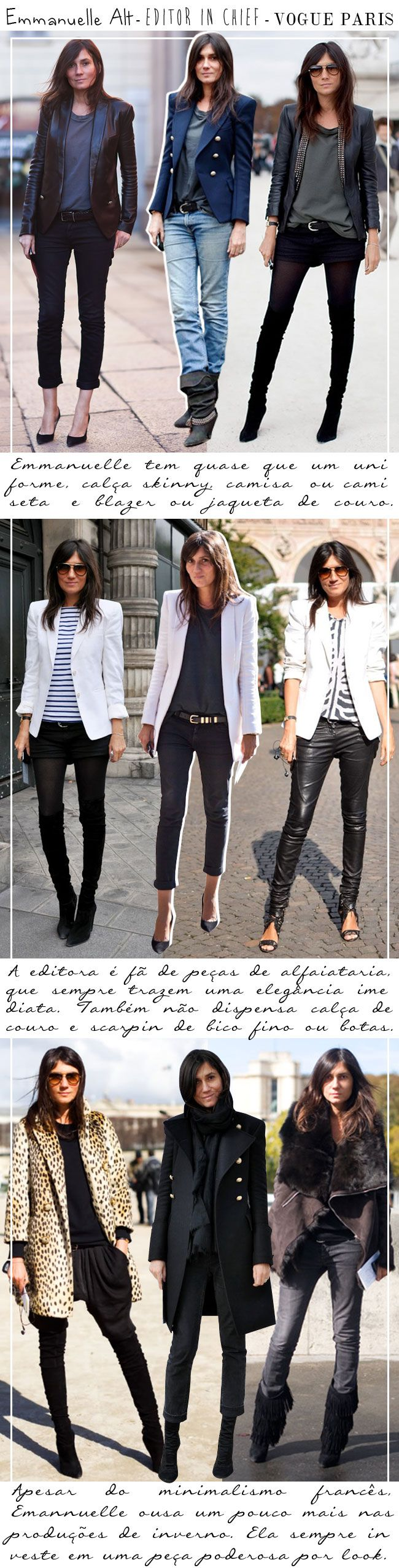 emmanuelle alt | french vogue | obsessed with her effortlessly chic parisian look | not-too-skinny skinny jeans (peg leg not tapered) paired with cool loose-fitting tees, tanks, blazers and leather jackets