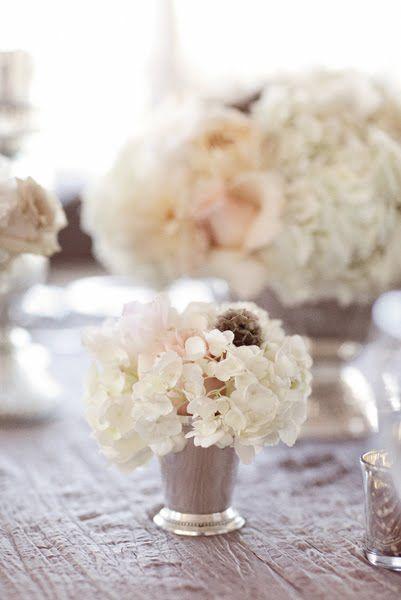 roses + hydrangea in silver