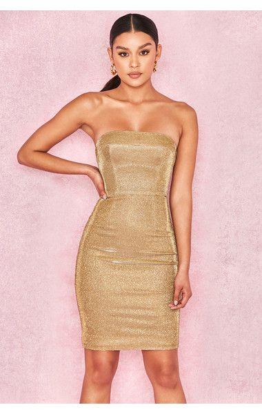 9b11d211cbd27 Clothing : Bodycon Dresses : 'Rinah' Iridescent Gold Strapless Mini Dress