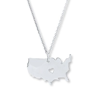 Show your American pride with this USA map necklace.