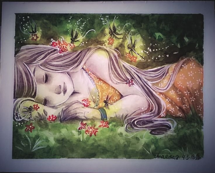 The fairies came for her, Ana Rosa Gonçalves on ArtStation at https://www.artstation.com/artwork/EPP42