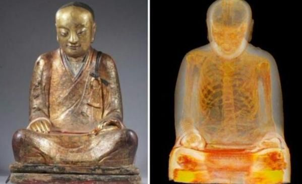 The mummy is identified as the mummified body of the Buddhist master Liuquan. It's described as being one of a kind and consequently the only one available for research in the West.