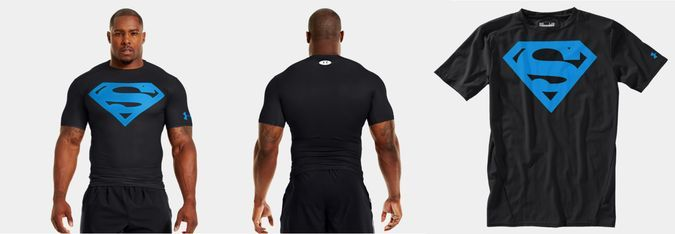 Under Armour Compression Shirt Superman - Black Model Front View, Back View And Polyester-Elastane Shirt Close Up http://coolpile.com/gadgets-magazine/superman-men-alter-ego-compression-shirt-armour/ via coolpile.com  #Clothing #Fitness #JoggingGear #Outdoors #Polyester #Sports #Superman #TShirts #UnderArmour #coolpile