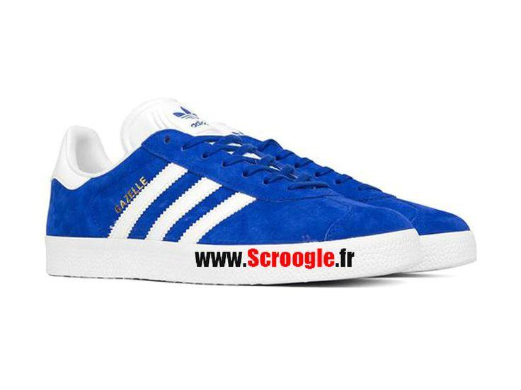 Chaussures de Originals Pas Cher Pour Homme/Femme Adidas Gazelle Bleu Blanc S76227