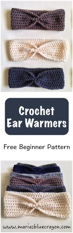 Beginner pattern for crochet ear warmers using half-double crochet stitches. Easy to tailor a custom fit!