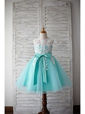 A-line+Knee-length+Flower+Girl+Dress+-+Lace+/+Tulle+Sleeveless+Jewel+with+–+USD+$+175.00