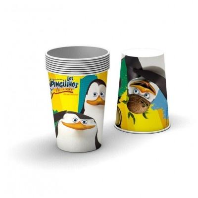 Vasos desechables de cartón para decorar una fiesta de cumpleaños de los pingüinos de Madagascar que podeis ver en nuestra tienda http://www.articulos-fiestas-infantiles.es/457-fiesta-pinguinos-madagascar