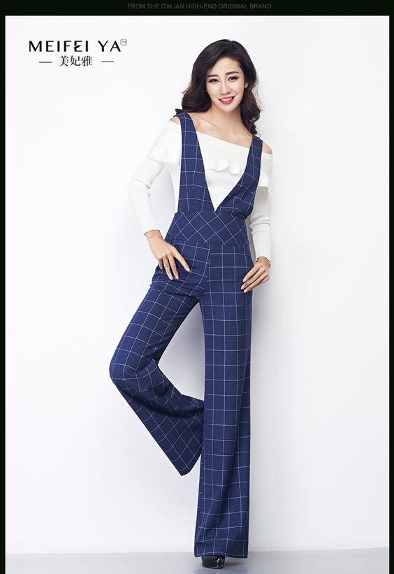 US $61.70 -- 2017 весна и осень плюс размер Мода повседневная женщины женщины девушки свободные плед брюки Комбинезоны купить на AliExpress