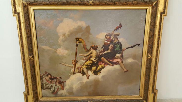 Dipinto ad olio su tela raffigurante allegoria della musica. Cesare Viazzi