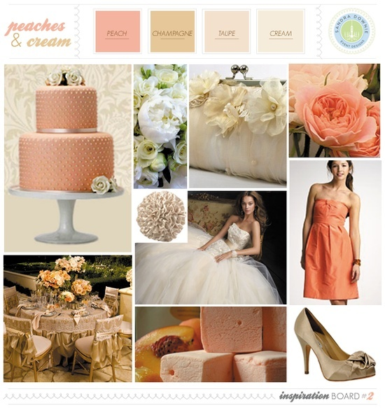 champagne and peach wedding