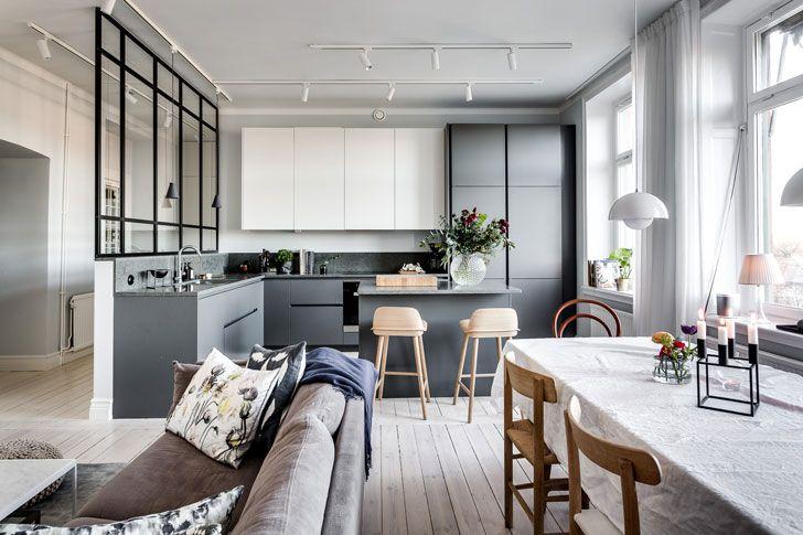 Дизайн трехкомнатной квартиры в Швеции площадью 86 кв. м | Фотографии скандинавского интерьера