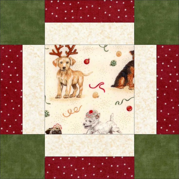 Puppies For Christmas Makower 12 Pre Cut Quilt Kit 9