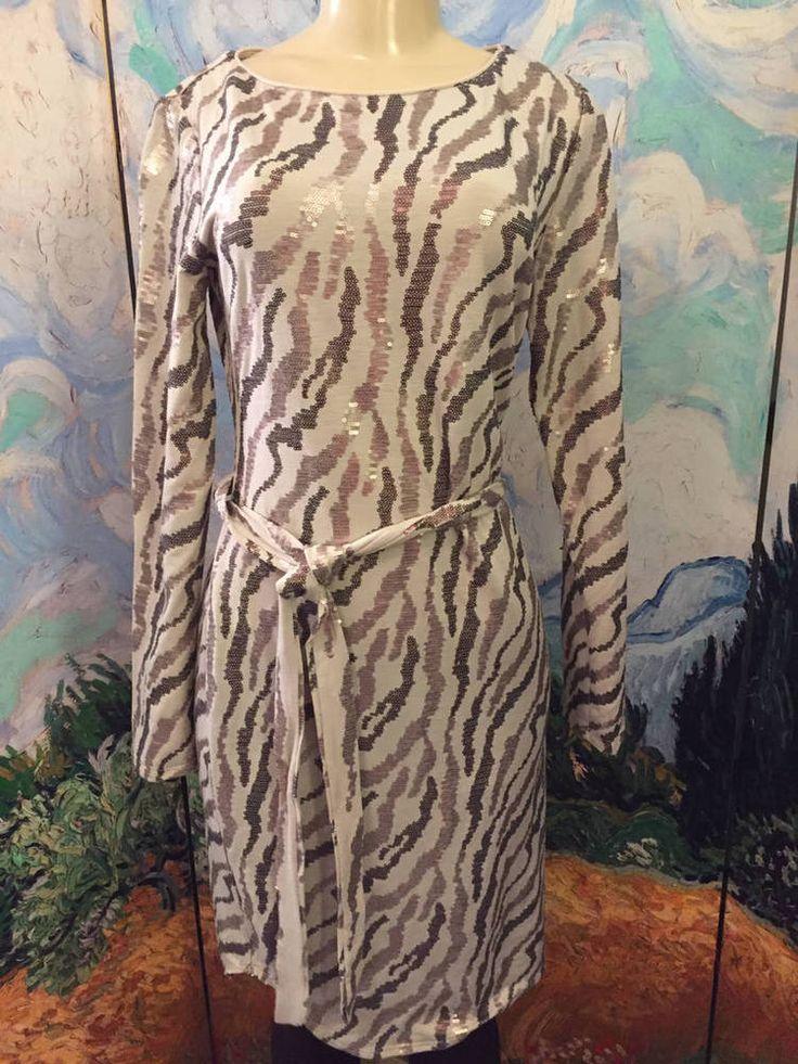 V BY EVA M NEW BEIGE ANIMAL PRINT SEQUIN ROUND NECK BELTED BELOW KNEE DRESS #VBYEVA #Sheath #Cocktail