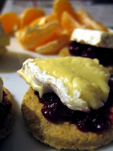 Fried Brie with Hot Cranberry Sauce - did these for a dinner party and they were fab!